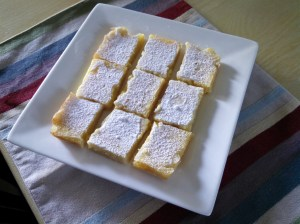 Yummy Lemon Squares dusted with sugar...fresh from the oven!